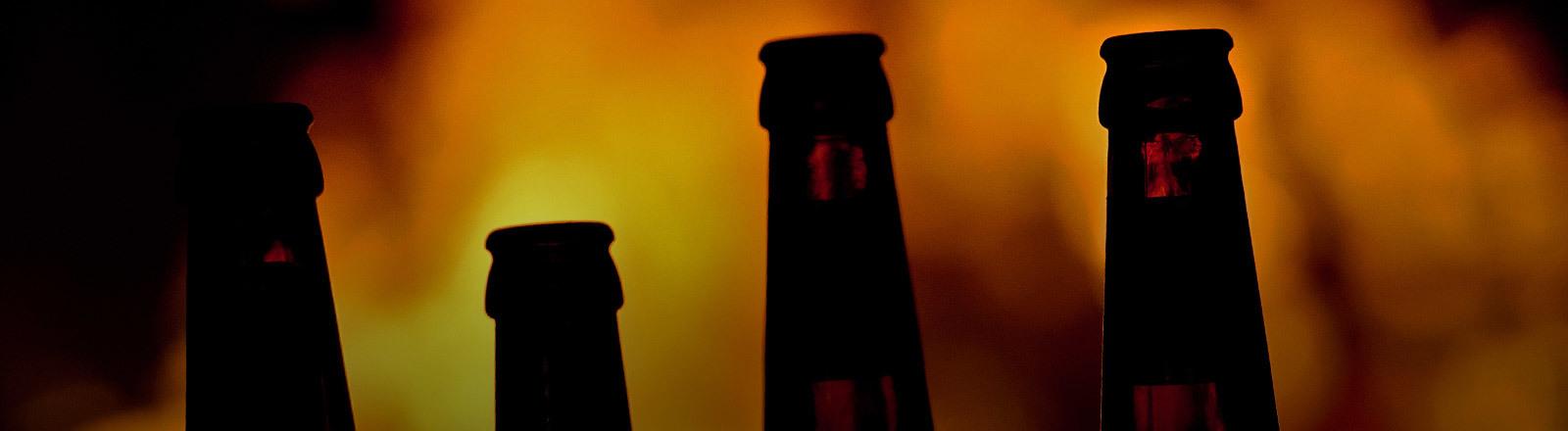 Vier Bierflaschen mit einem Feuer im Hintergrund