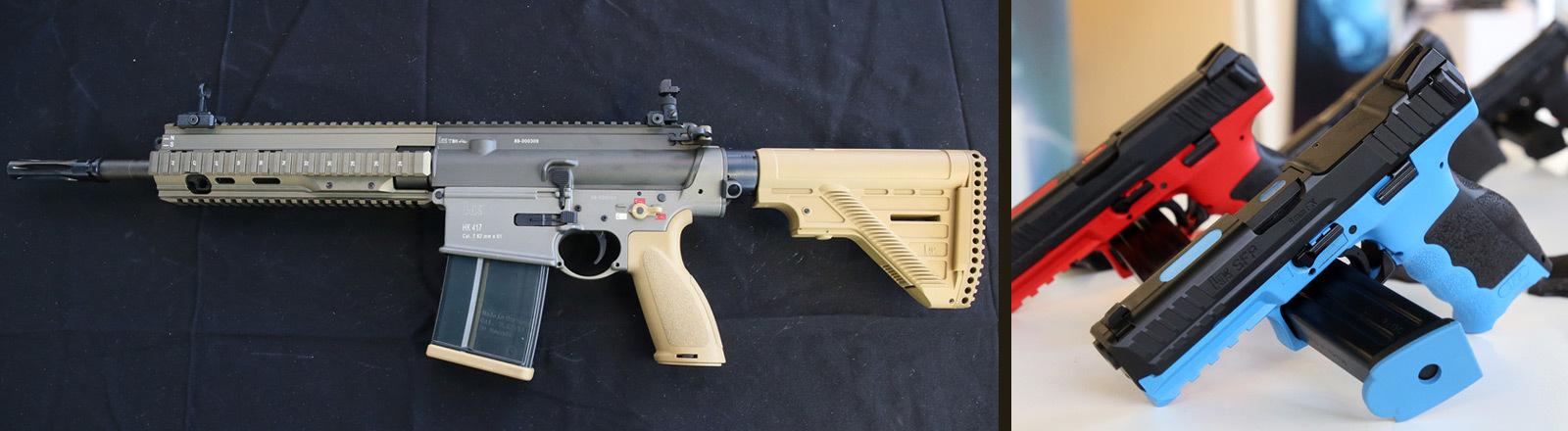 Sturmgewehr und  Handfeuerwaffe von Heckler und Koch