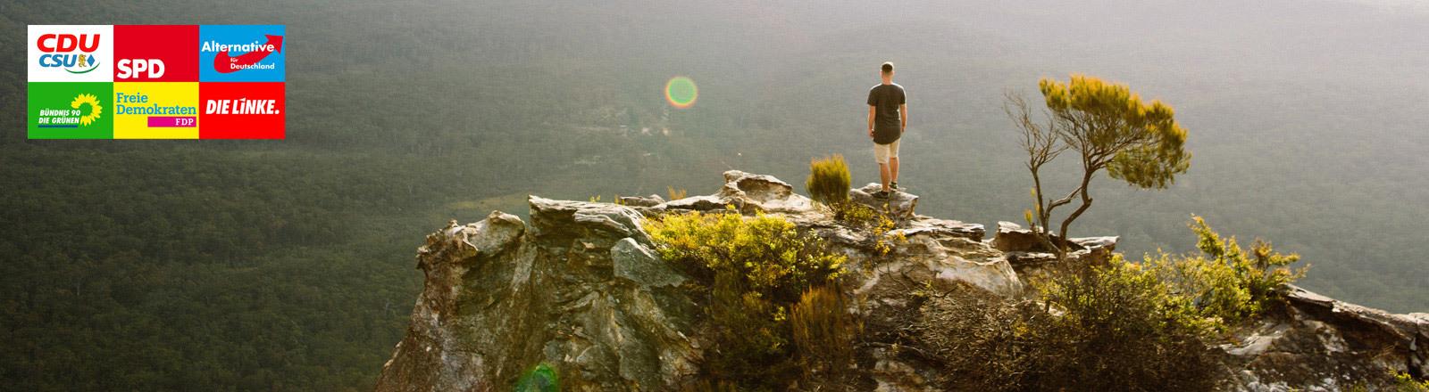 Ein Mann steht auf einem Felsen und blickt in die Ferne über einen Wald hinweg.
