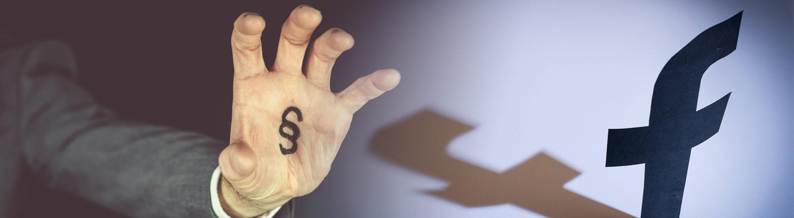 Collage: Hand mit Paragraphenzeichen, Facebook-Logo