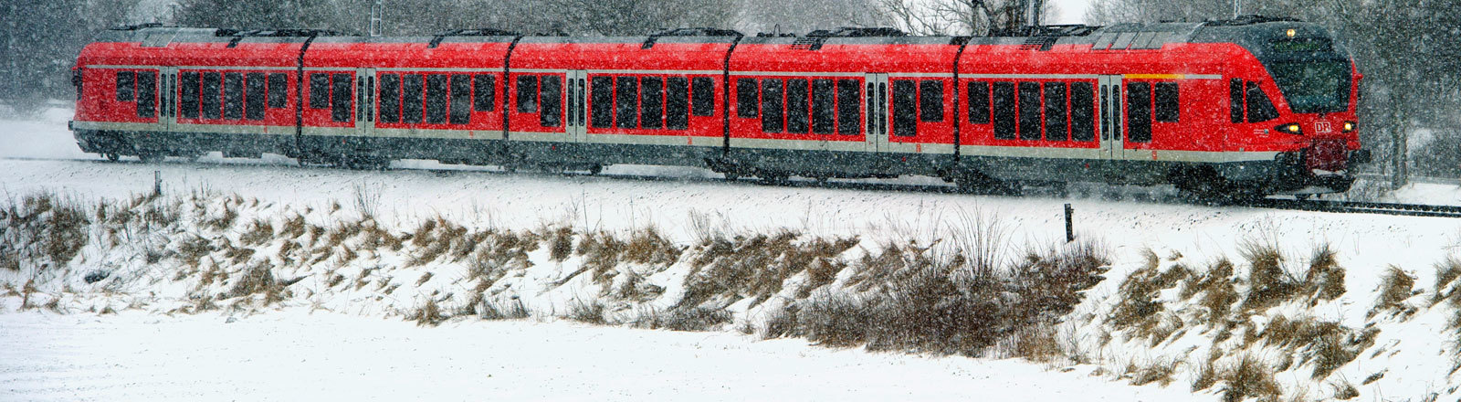 Ein Regionalexpress auf fährt in einer verschneiten Landschaft