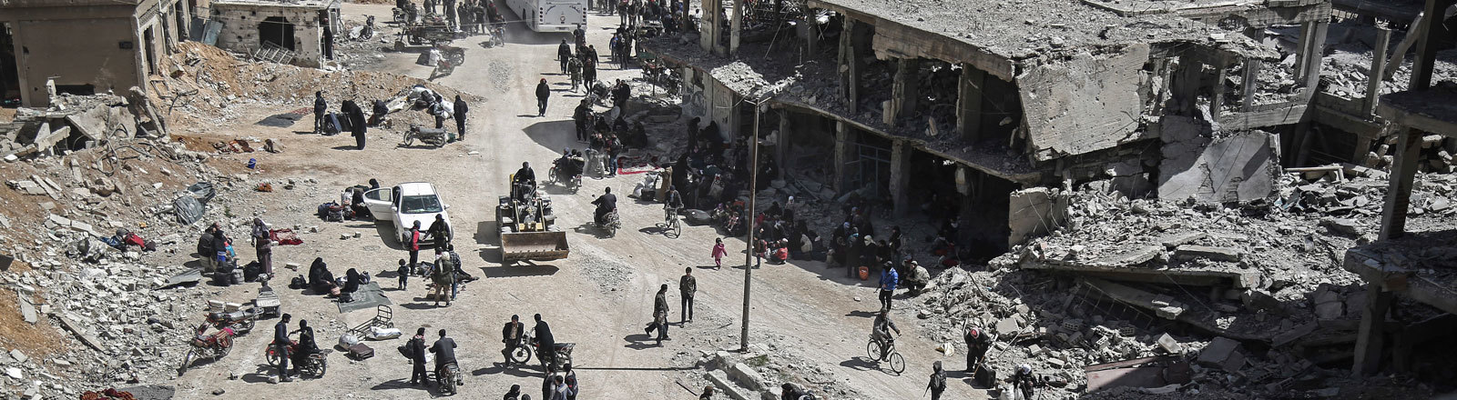 Eine zerstörte Stadt in Syrien