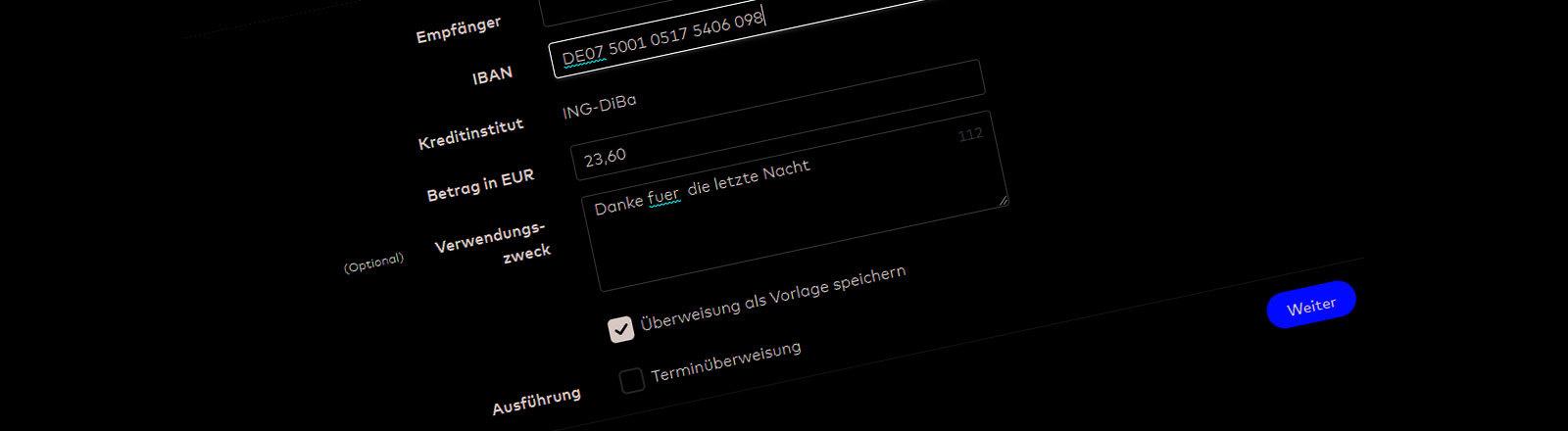 Screenshot eines Online-Überweisungsformulars