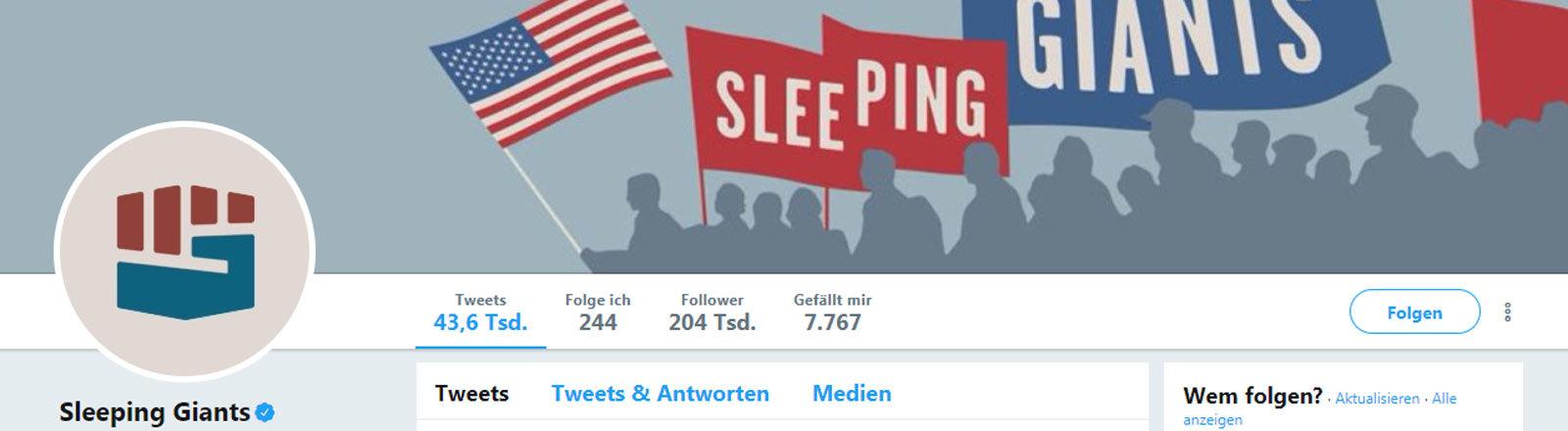 """Der Twitter-Account der Internet-Aktion """"Sleeping Giants"""""""