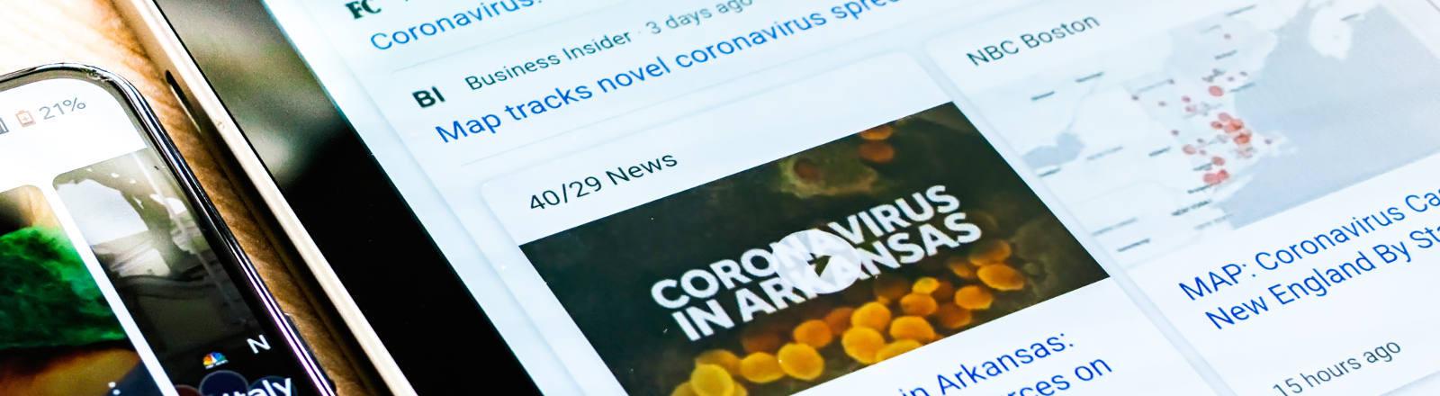 Ein Bildschirm mit Corona-Nachrichten