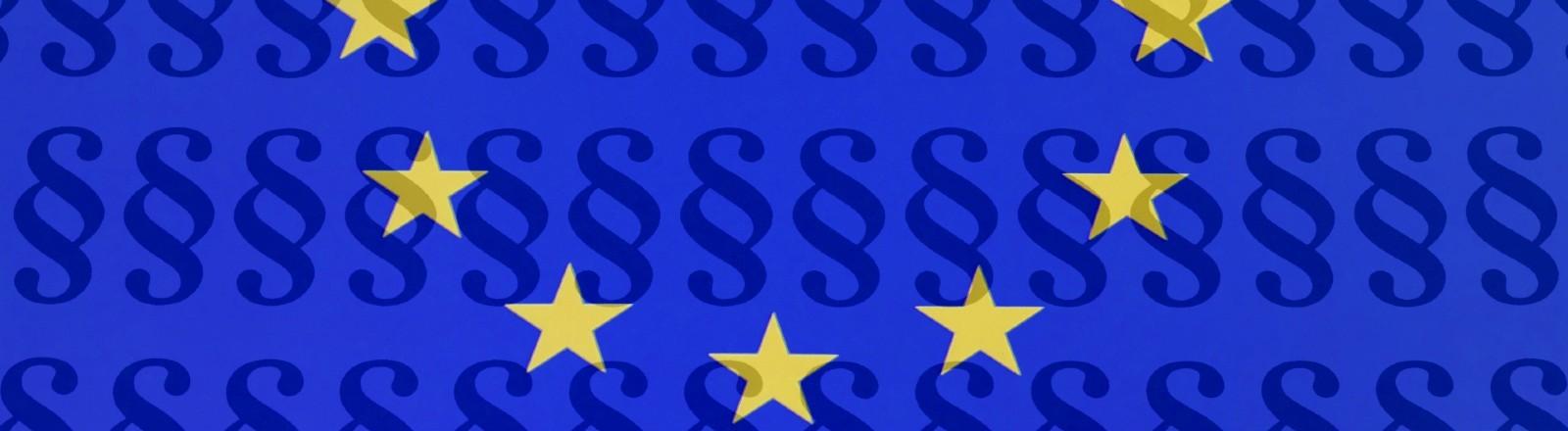 EU-Flagge mit Paragrafenzeichen.