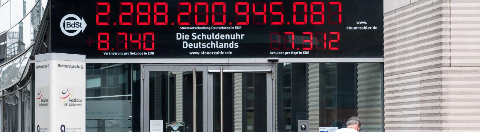 Die Schuldenuhr Deutschlands vom Bund der Steuerzahler