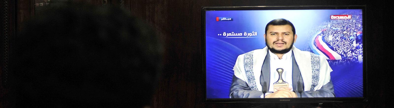 Der Kommandant der Huthi-Rebellen in Jemen, Abdel-Malik al-Huthi, in einer Fernsehansprache.