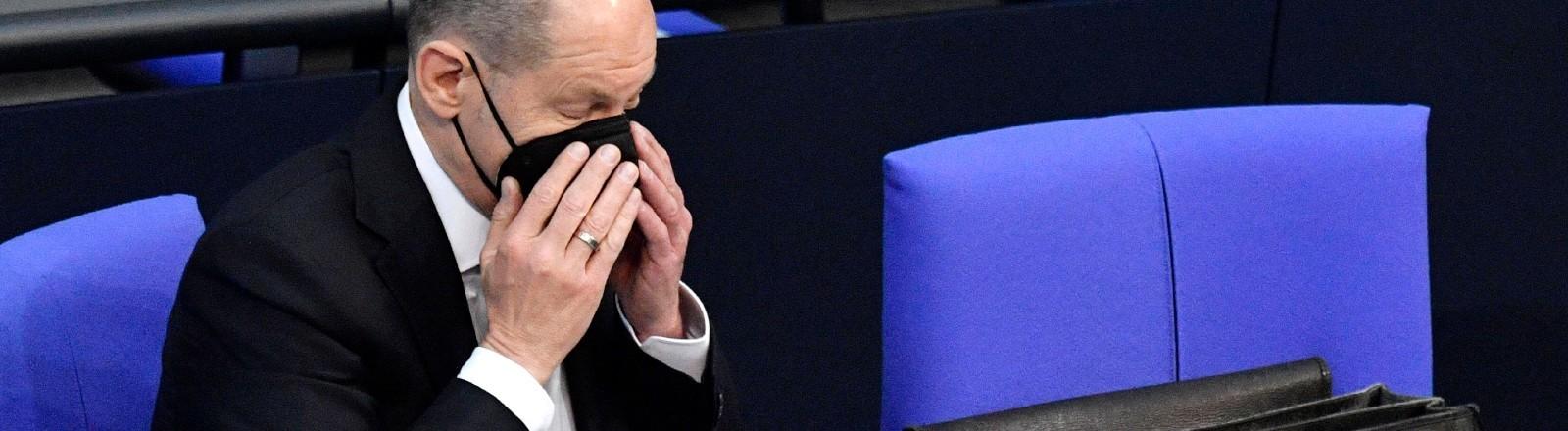 Olaf Scholz bei einer Sitzung im Bundestag.