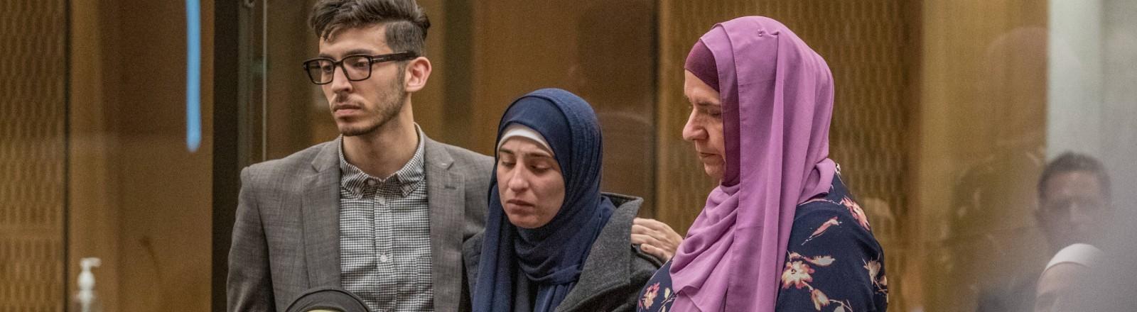 Gerichtsprozess zu Anschlag vom 15. März 2019 in Christchurch. Das Bild zeigt die Familie eines der Opfer