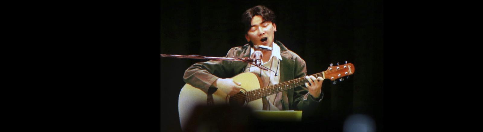 Aufnahme des Hologramm-Konzerts des südkoreanischen Sängers Kim Kwang-seok in Daegu im Jahr 2016