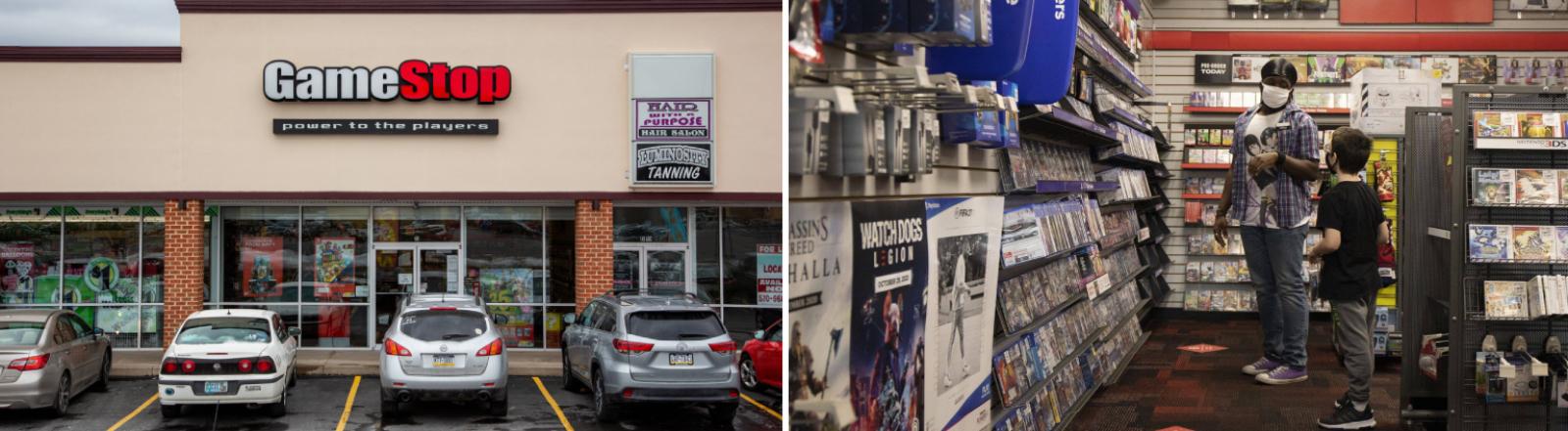 Gamestop-Geschäft in Selinsgrove, Pennsylvania, am 27.01.2021 (links) und das Innere eines Shops der Kette in Chicago am gleichen Tag (rechts)