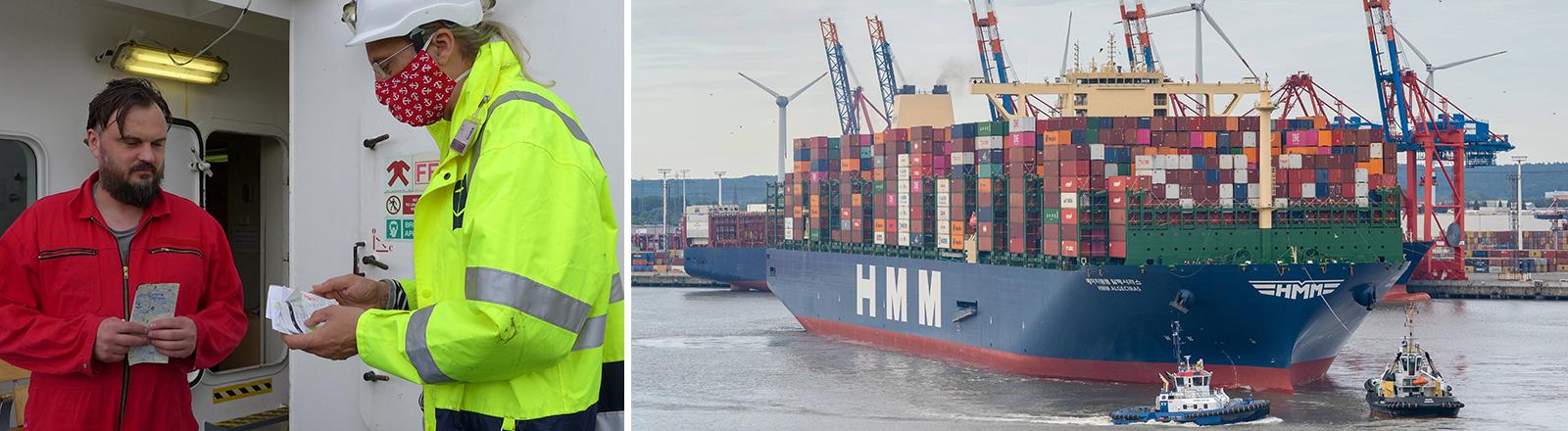Seefahrer und ein Containerschiff im Hamburger Hafen