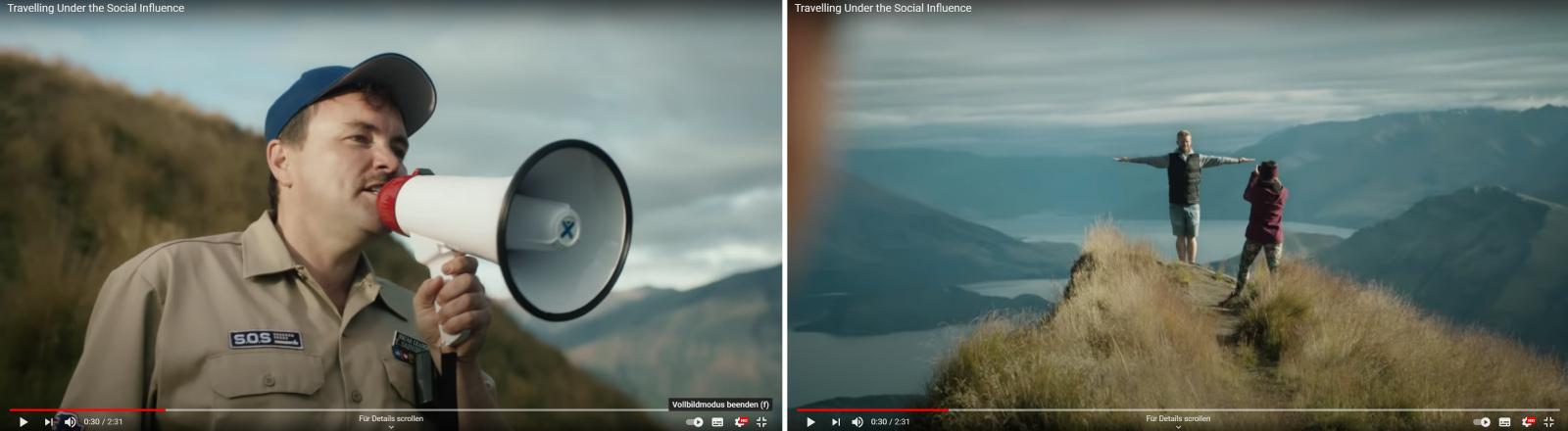 "Ranger versus Social-Touris: Szenen aus dem Video ""Travelling Under the Social Influence"""