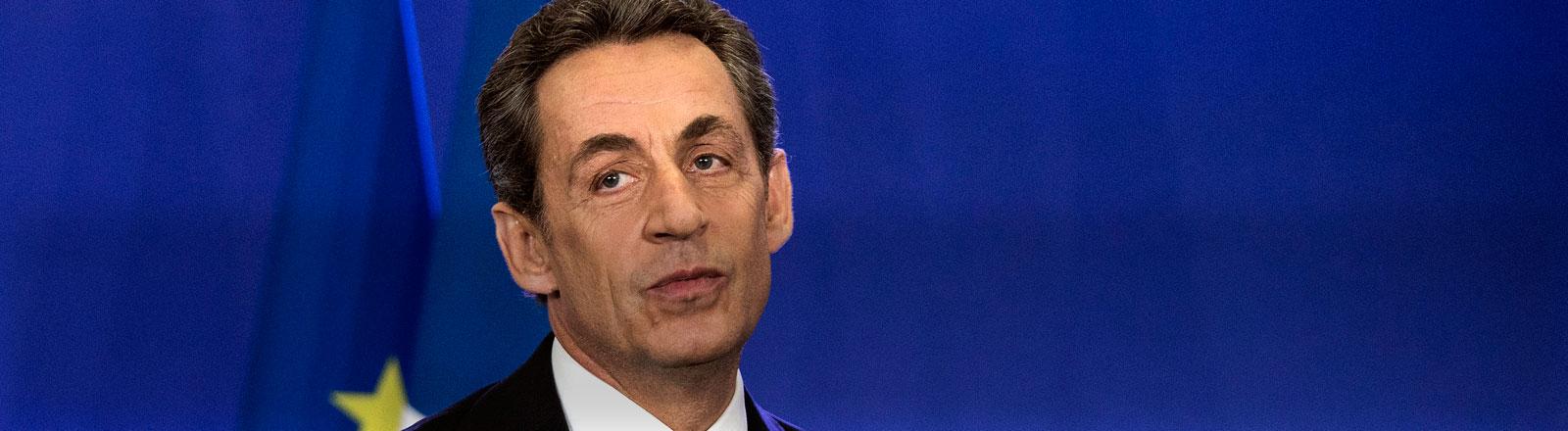 Der frühere französische Präsident Nicolas Sarkozy nach den Départementswahlen in Frankreich.