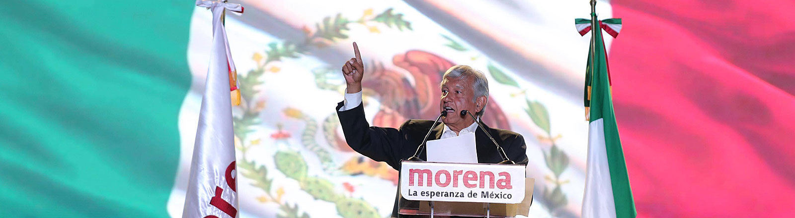 Mexikos Präsidentschaftskandidat Andrés Manuel López Obrador bei einer Wahlkampfveranstaltung am 27.06.2018