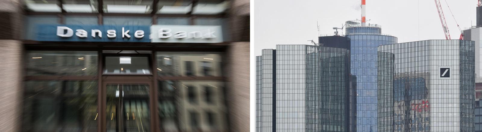 Schriftzug der Danske Bank über dem Eingang einer Filiale, Skyline mit dem Deutsche-Bank-Hochhaus in Frankfurt am Main