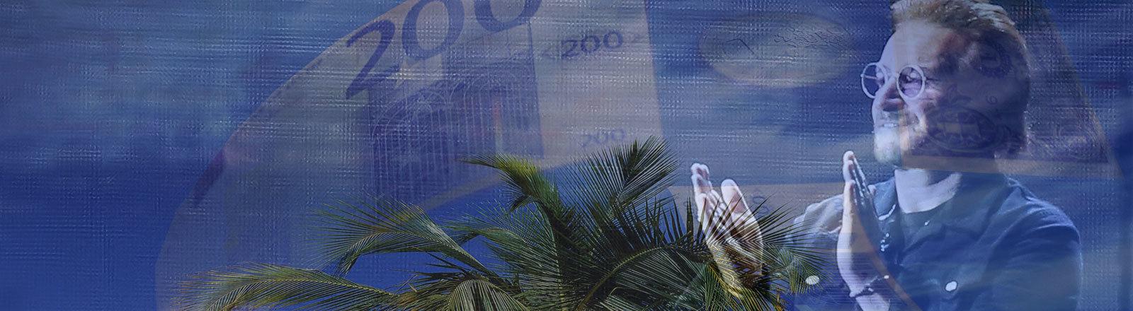 Bono klatscht in die Hände / Ein paradiesischer Strand / Euromünzen und –scheine im Hintergrund (Collage Deutschlandfunk Nova)