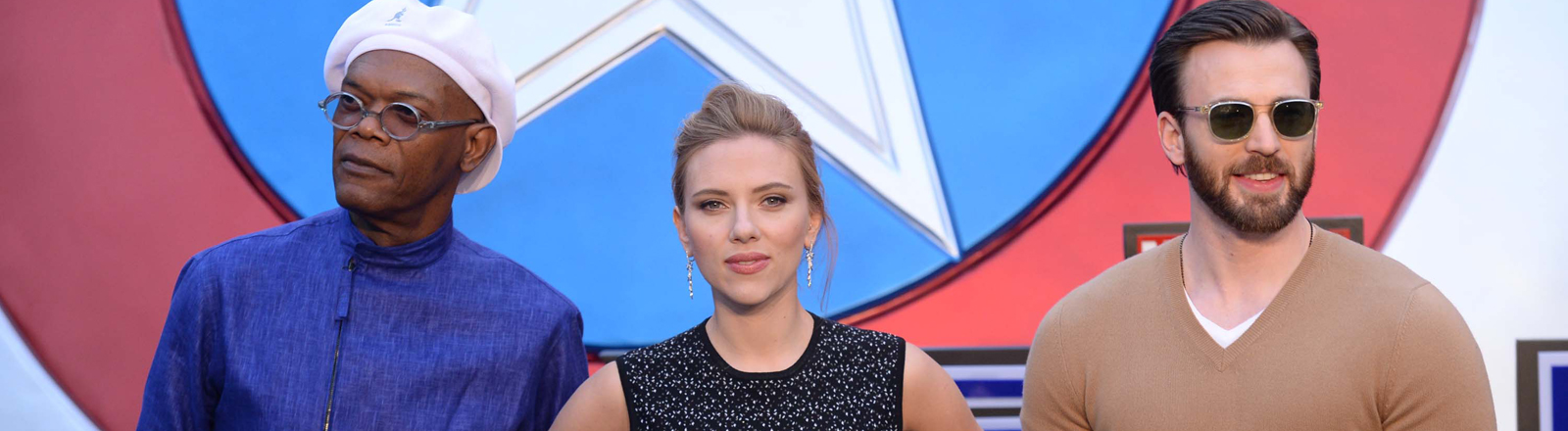 "Bei der China-Premiere von ""Captain America: The Winter Soldier"": Samuel L. Jackson, Scarlett Johansson und Chris Evans."