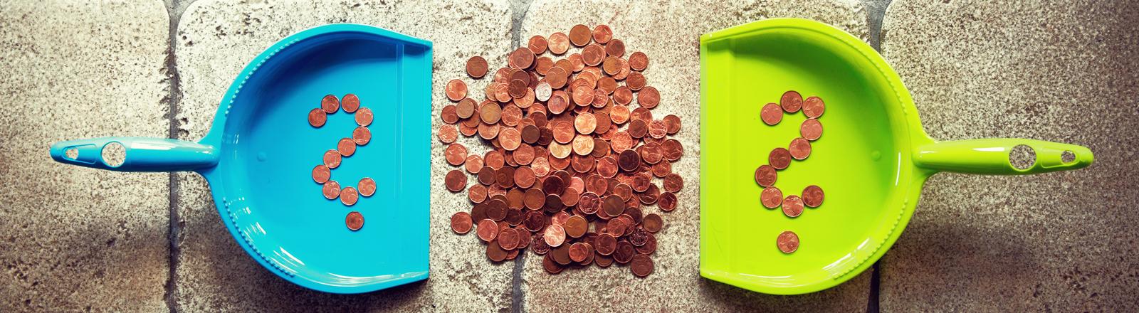 Cent-Münzen zwischen zwei Kehrblechen