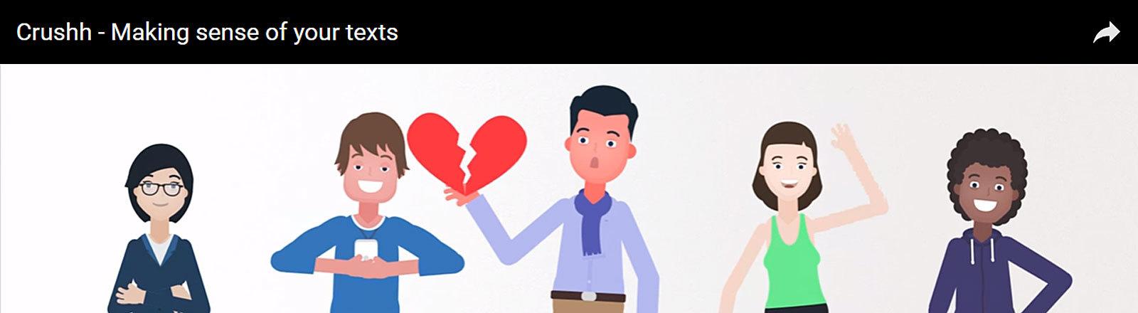 Crushh App, Screenshot Youtube-Video, 5 Cartoon-Figuren, zerbrochenes Herz