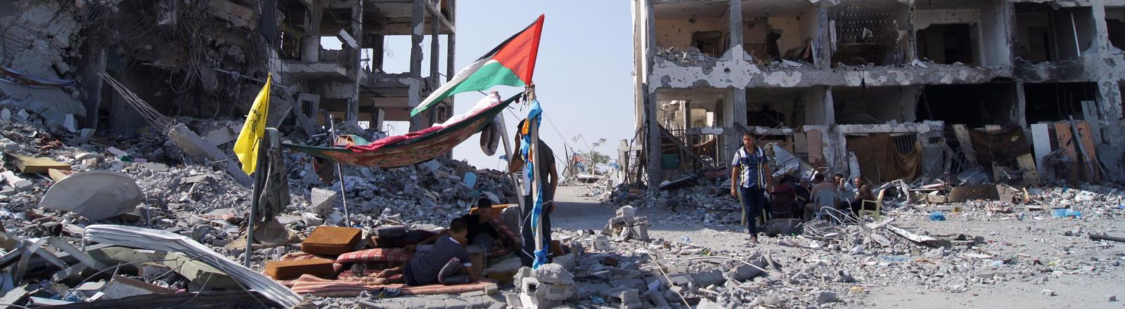 Zerstörte Apartements im Gazastreifen