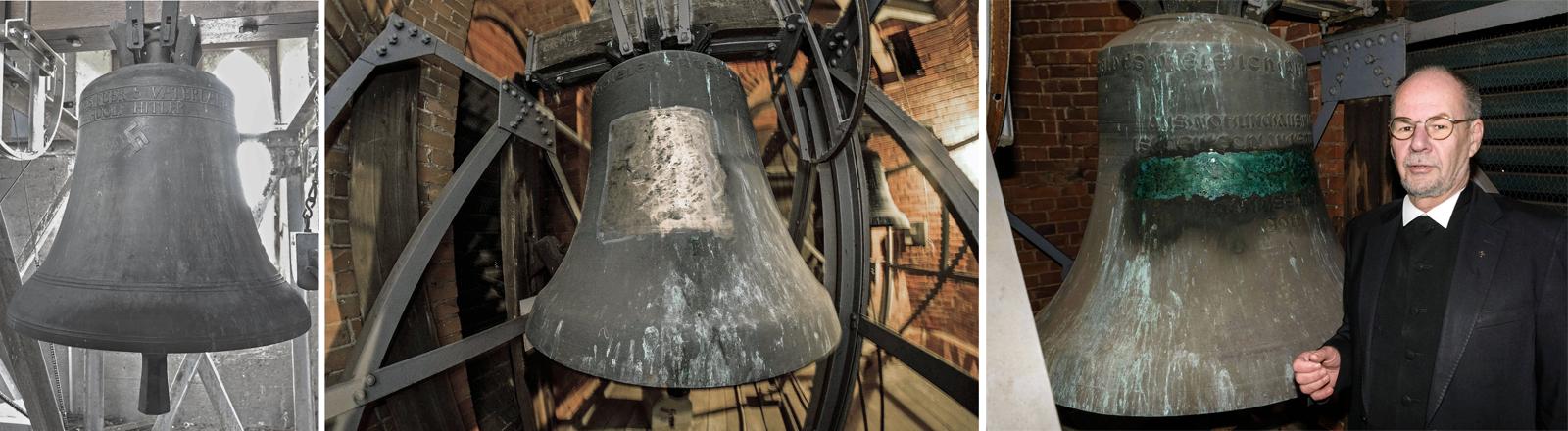 Glocke mit Hakenkreuz in Herxheim am Berg und Glocke ohne in Schweringen