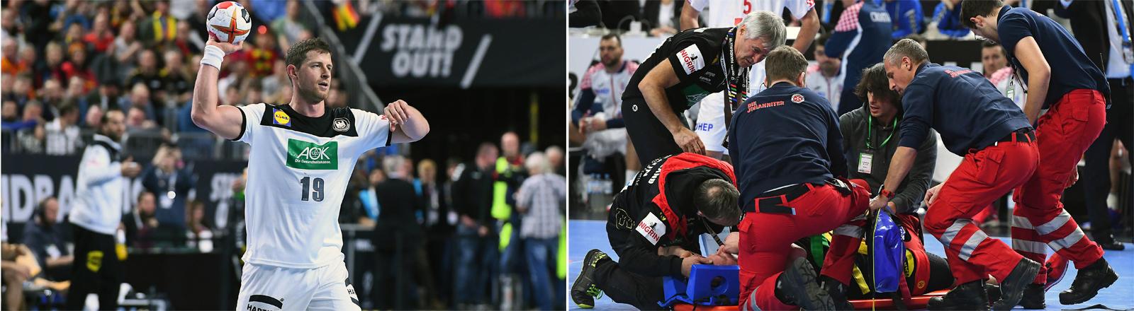 Handball WM: Martin Strobel spielend und Martin Strobel verletzt