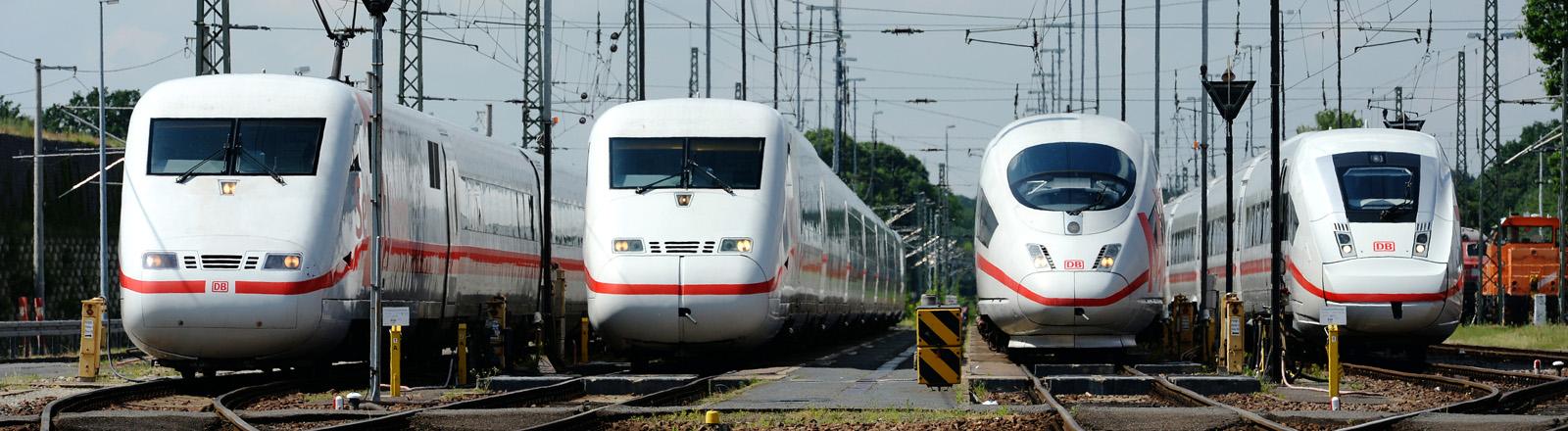 Die vier Generationen des ICE stehen am 02.06.2016 in Berlin beim Festakt anlässlich des 25. Jahrestages der Premierenfahrt des ersten fahrplanmäßigen ICE-Hochgeschwindigkeitszugs nebeneinander.