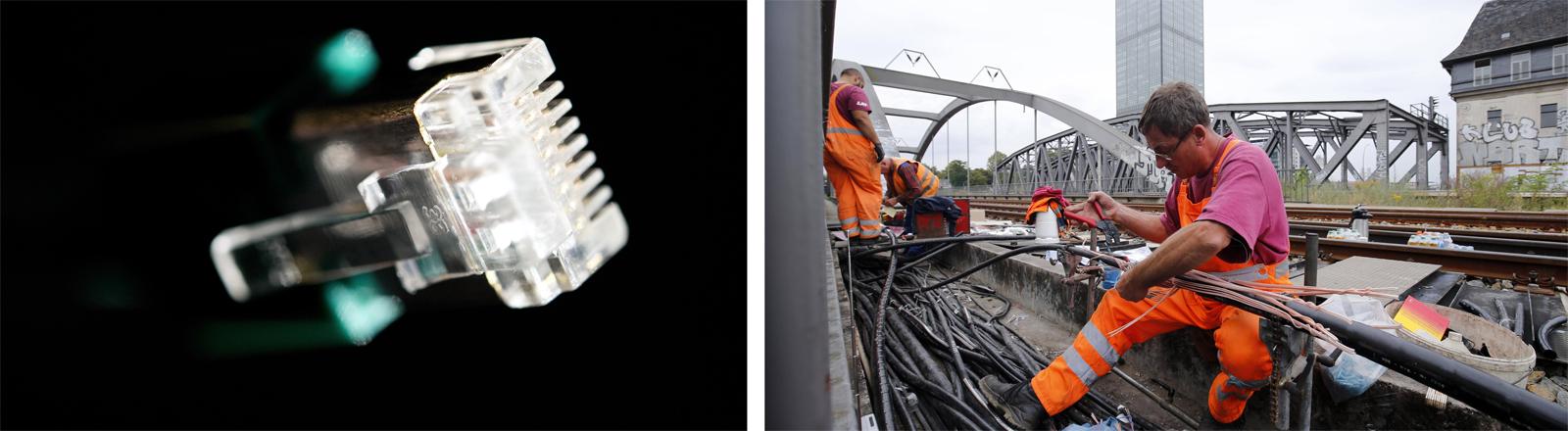 Netzwerkkabel und Kabelarbeiten an einer Berliner S-Bahnstrecke