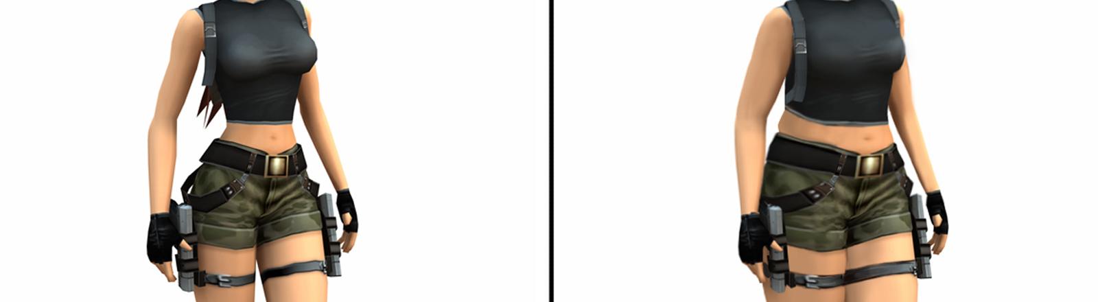 Lara Croft im Original (links) und mit den Maßen einer Durchschnitts-Amerikanerin (rechts) - Graphik von Bulimia.com.