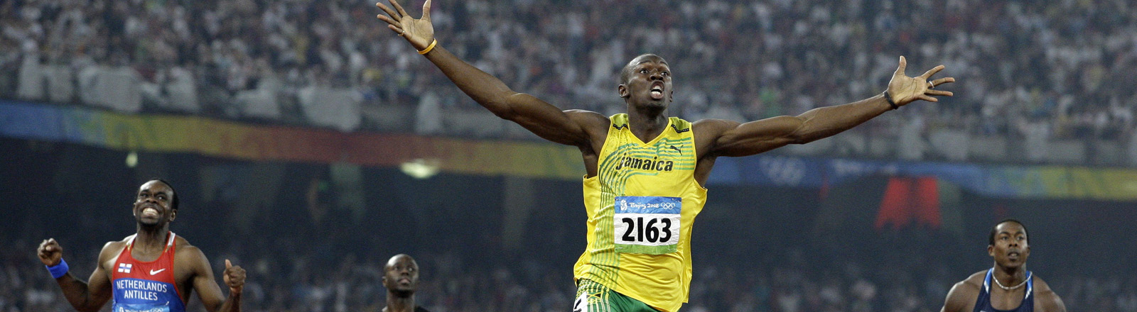 Usain Bolt gewinnt das 100-Meter Finale bei den Olympischen Spielen in Peing 2008