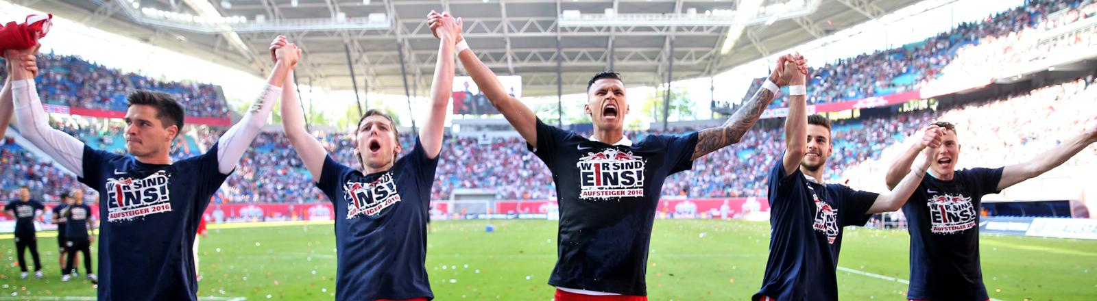 RB Leipzig - Karlsruher SC, 33. Spieltag am 08.05.2016 in der Red Bull Arena, Leipzig (Sachsen). Davie Selke (M) feiert mit Leipziger Mannschaftskollegen den Aufstieg in die 1. Bundesliga.