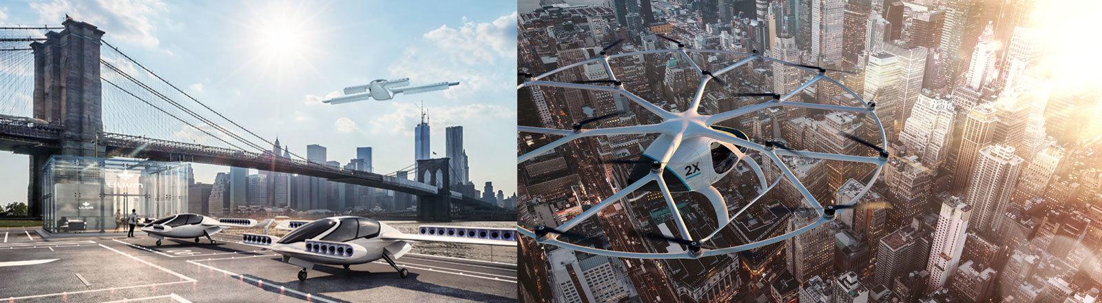 Grafiken der Flugdrohnen der deutschen Startups Lilium Aviation und Volocopter