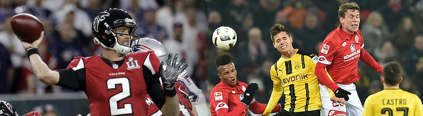 Szene aus der NFL und der Fussball-Bundesliga
