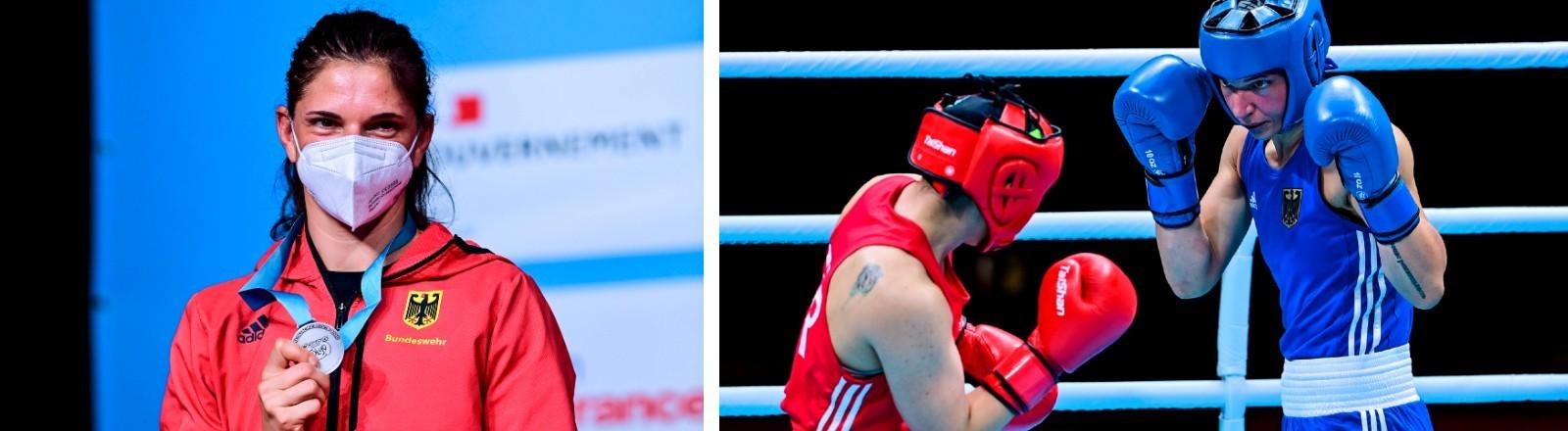 Profi-Boxerin Nadine Apetz bei den Olympischen Spielen in Tokio.