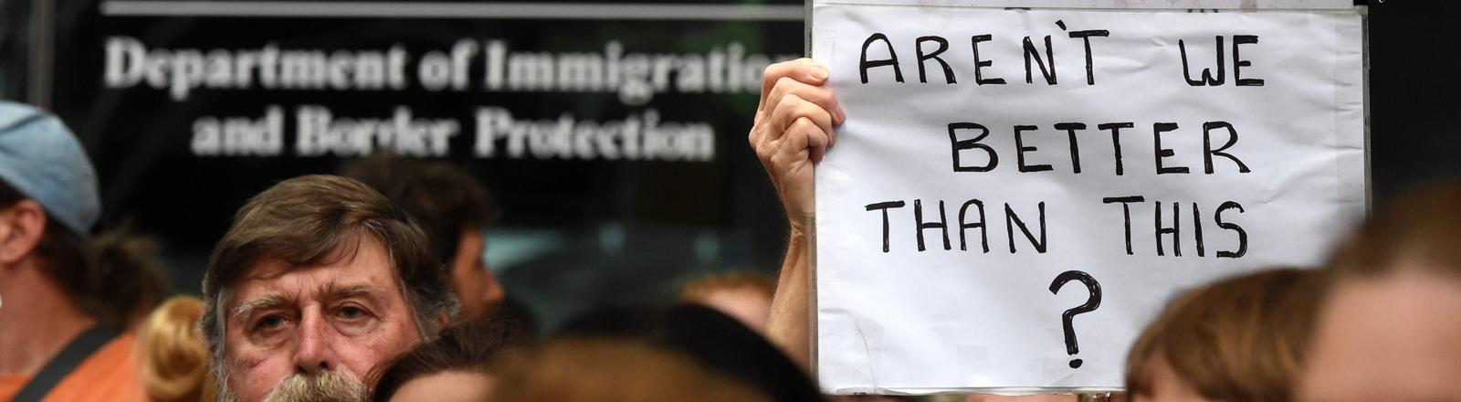 Proteste gegen die Asylpolitik Australiens in Brisbane am 5. Februar