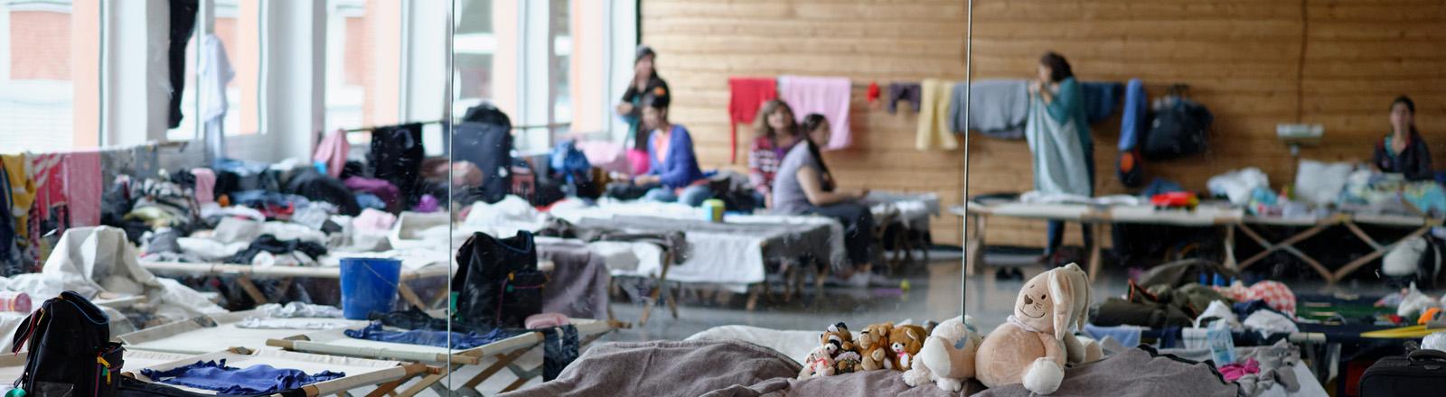Feldbetten sind am 18.08.2015 in Rosdorf (Niedersachsen) in einer Turnhalle aufgebaut.