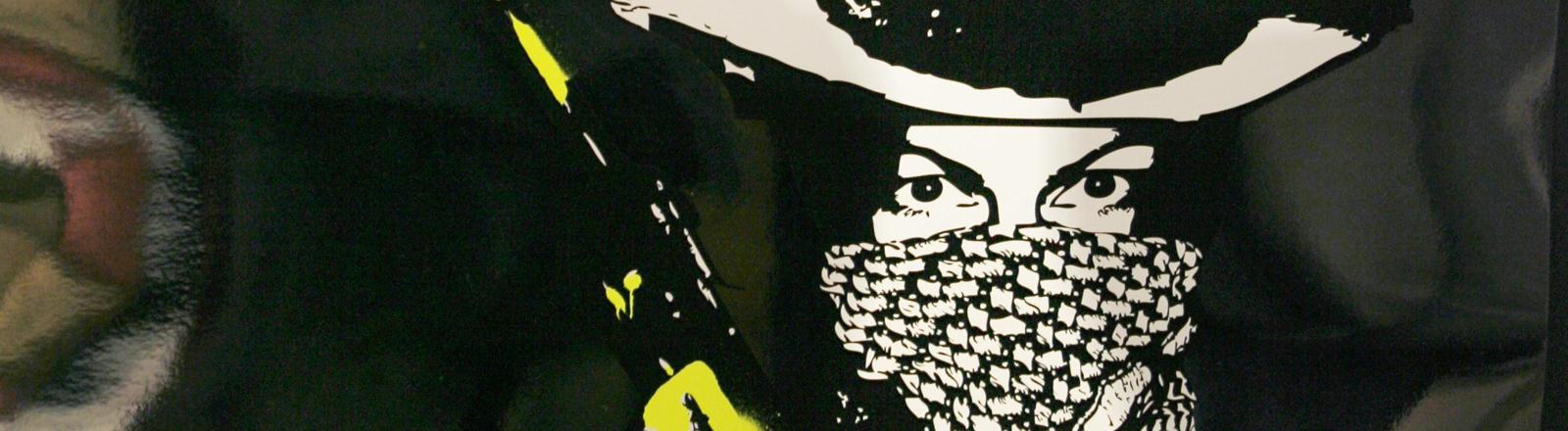 """Gäste der Vernissage zur Ausstellung des """"Tomi Ungerer Festivals der Zeichner"""" in der Galerie Springmann in Freiburg spiegeln sich am Dienstag (25.11.2008) in der Grafik """" Who killed bambi?"""" des Küntlers Stefan Strumbel."""
