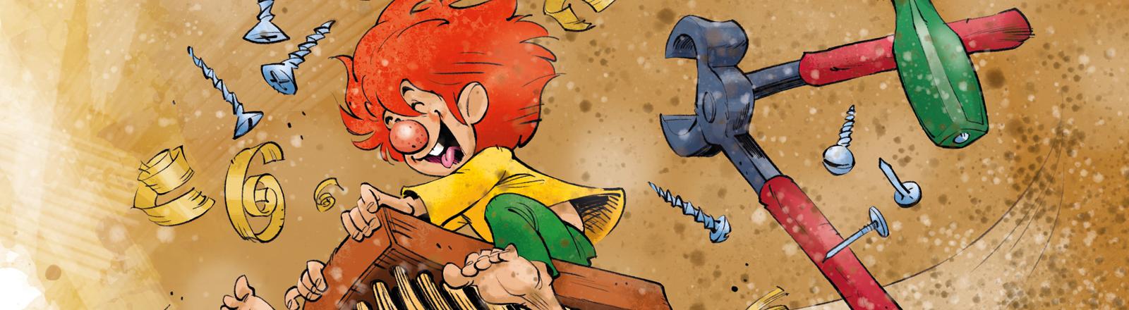 Die Illustration des Illustrators Jan Saße zeigt die Zeichentrickfigur Pumuckl.