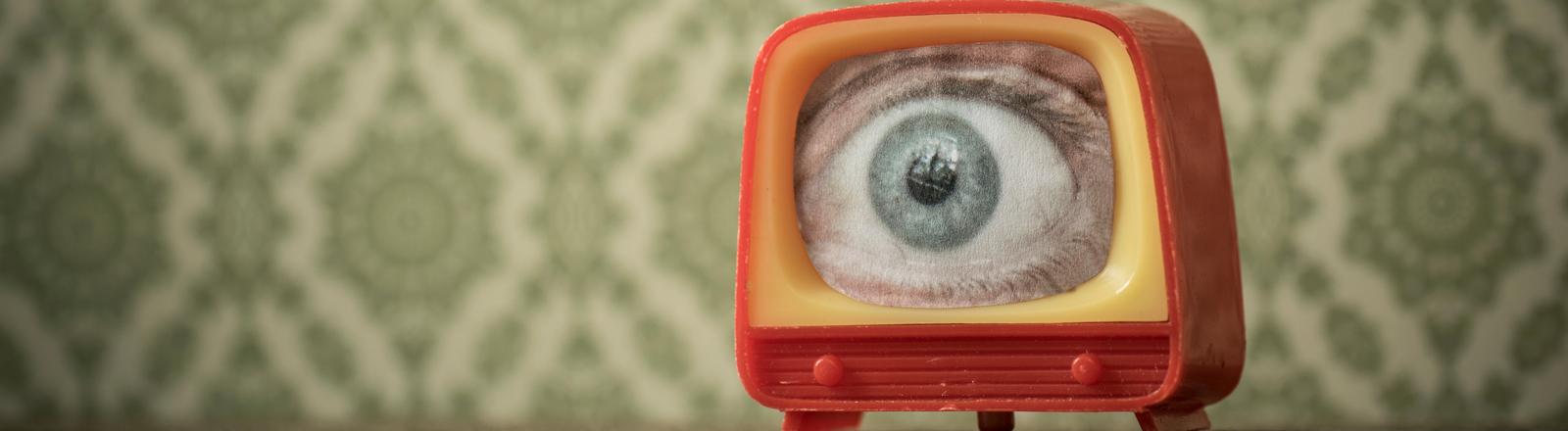 Ein Auge auf einem Fernseher