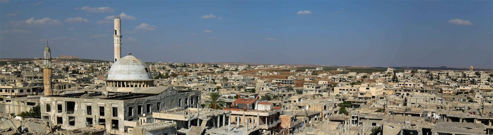 Eine Aufnahme der Stadt Kafr Zita vom 18. September 20118 - sie befindet sich im Norden Syriens und wird von Rebellen kontrolliert