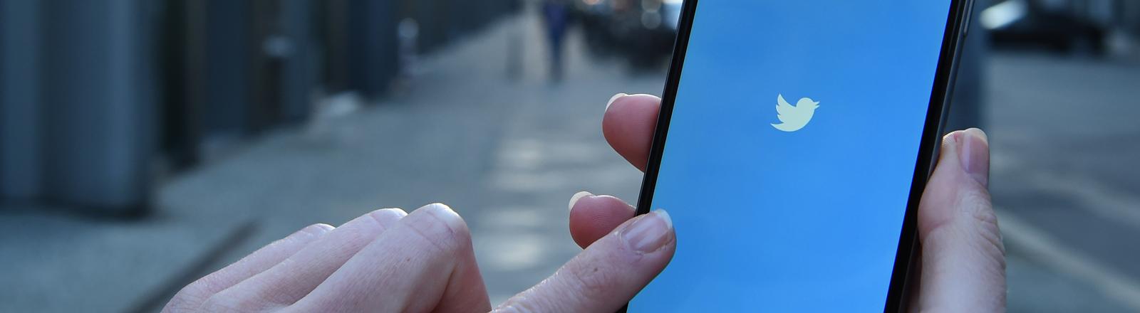 """Auf dem Display eines iphone 6 wird am 20.03.2015 die App """"Twitter"""" als icon angezeigt."""