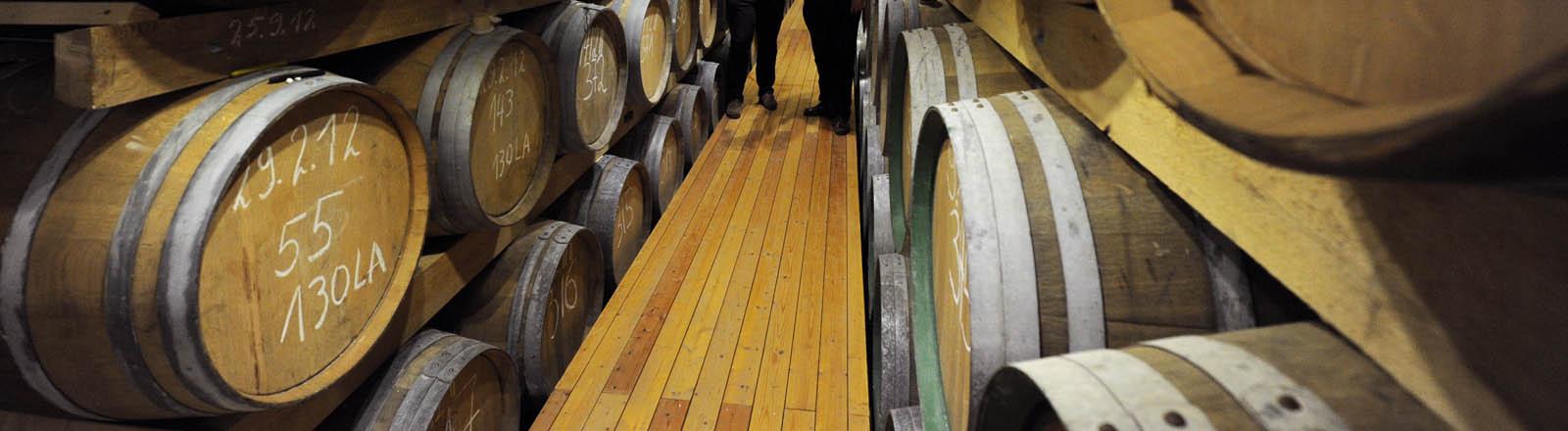 Geschmack und Aromen von Whisky-Editionen werden von Alexander Buchholz und seinem Vater Karl-Theodor Buchholz (l-r) am 07.03.2013 im Fasslager ihrer Whisky-Brennerei in Zorge (Niedersachsen) geprüft.