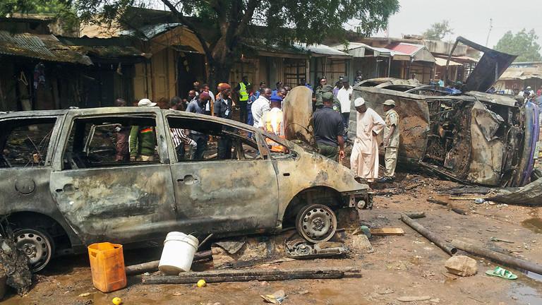 Szene nach einem Attentat in der nigerianischen Stadt Gombe.