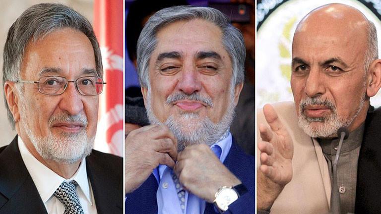 Drei der afghanischen Präsidentschaftskandidaten: Zalmai Rassoul, Abdullah Abdullah und Ashraf Ghani Ahmadzai
