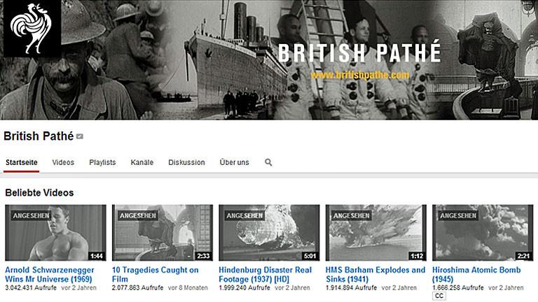 British Pathé, das Portal für historische Videos auf Youtube