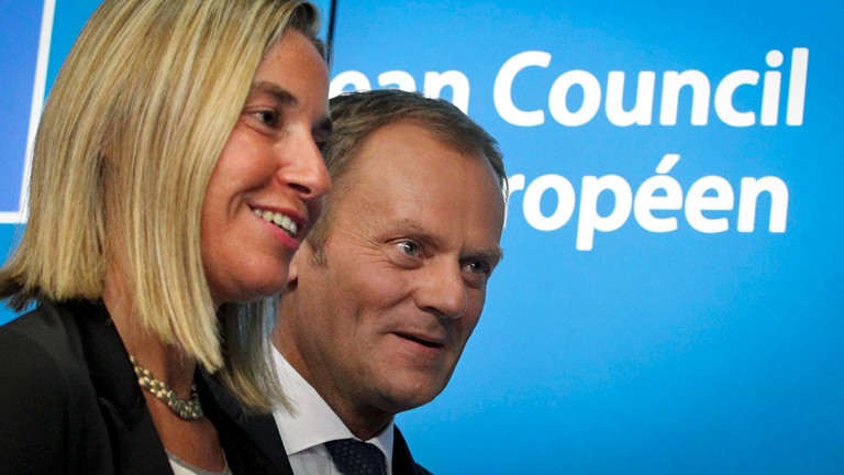 Die italienische Außenministerin Federica Mogherini und Polens Premierminister Donald Tusk kommen an die Spitze der EU.