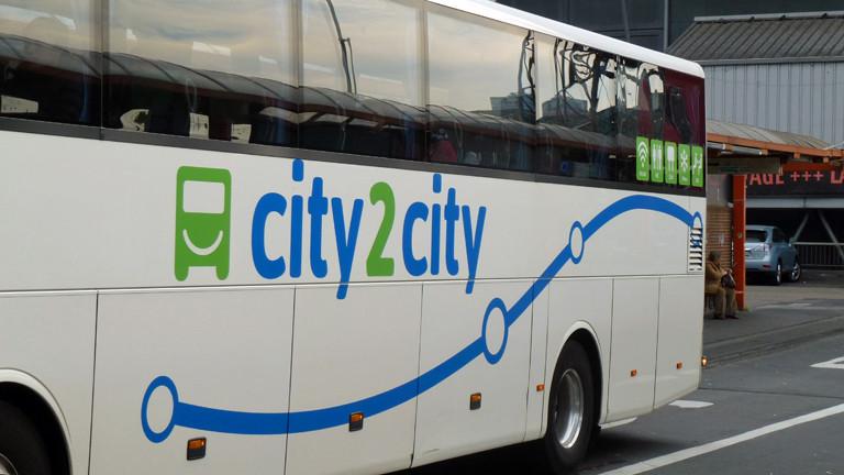 Ein Linienbus von city2city, eine Tochter der britischen National Express Group, kurz NX Group, aufgenommen am 24.09.2014 in Köln.