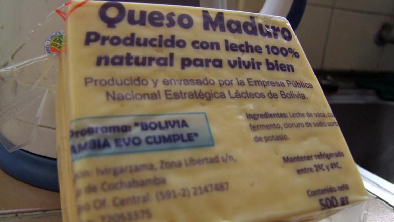 DRadio-Wissen-Reporter Christoph Sterz hat einen Käse in Bolivien gekauft, auf dem steht: Evo hält seine Versprechen.